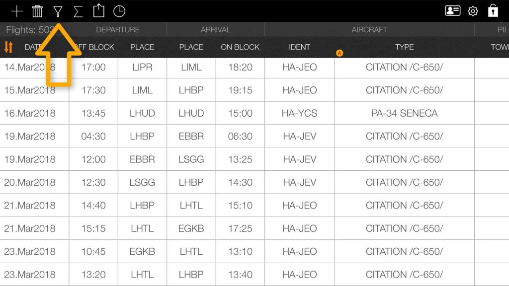 Pilot Logbook search function
