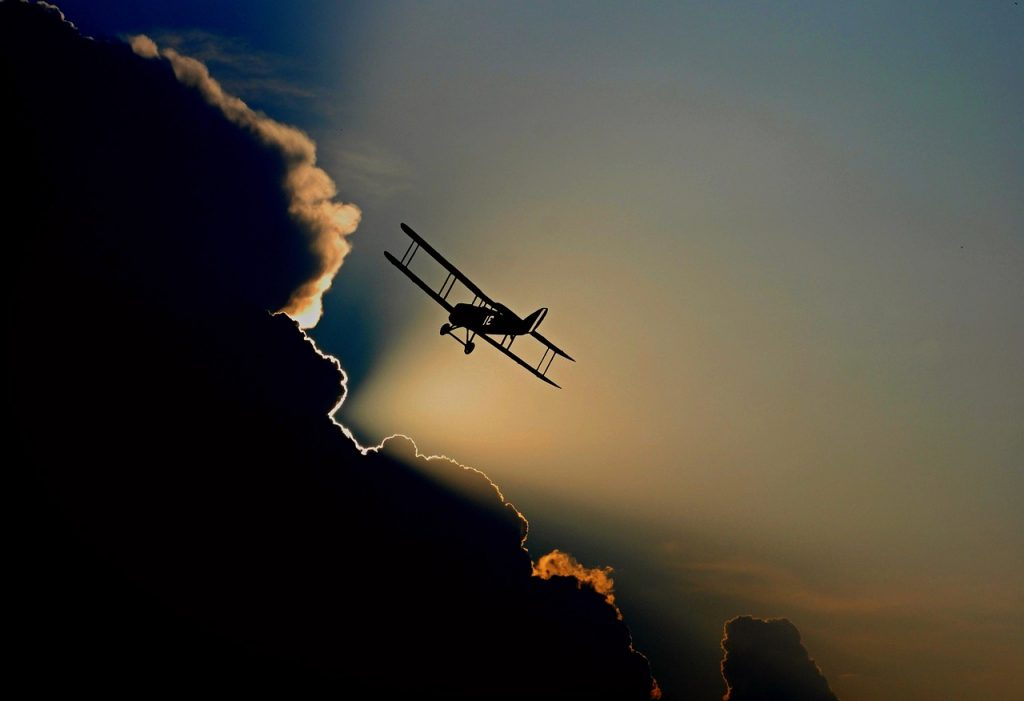 aircraft instrumental visual flying plane clouds biplane