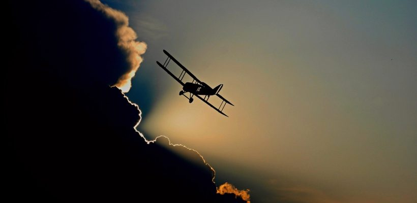 aircraft instrumental visual flying plane clouds biplane